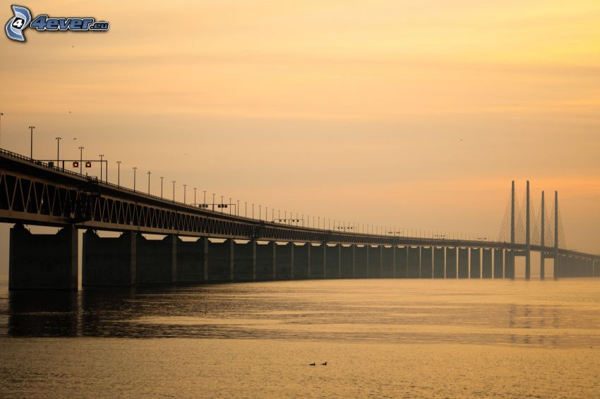 Øresund Bridge, cielo amarillo
