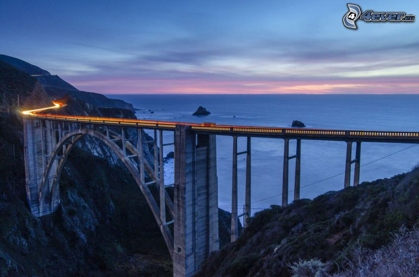puente, atardecer, luces