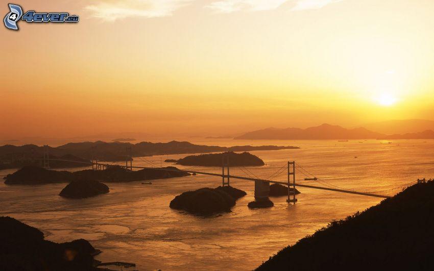 puente, puesta de sol anaranjada, río, vista del paisaje