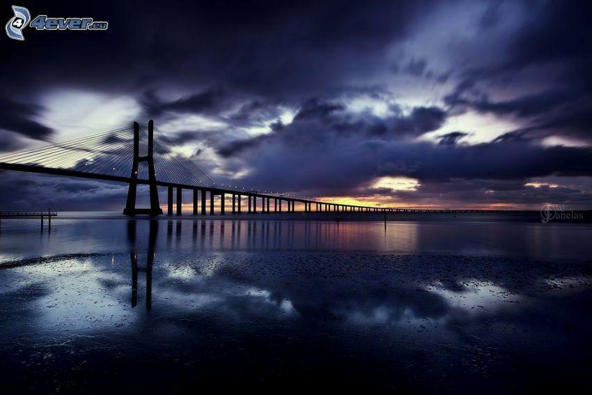 puente, río, después de la puesta del sol, nubes, atardecer