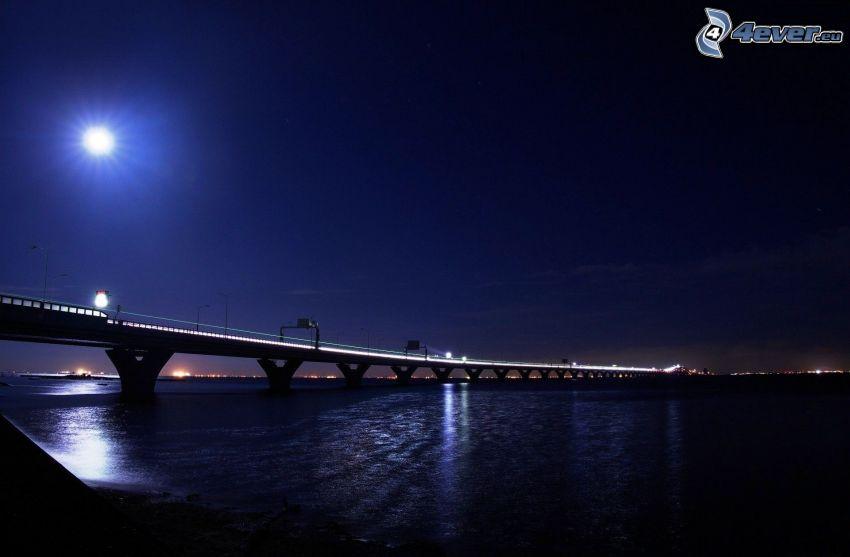 puente, río, noche, Luna