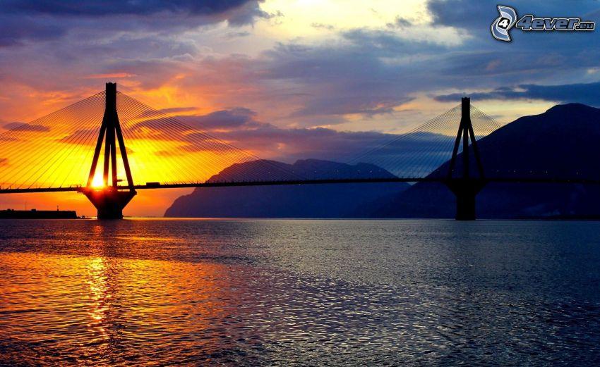 puente, río, puesta de sol anaranjada, colina