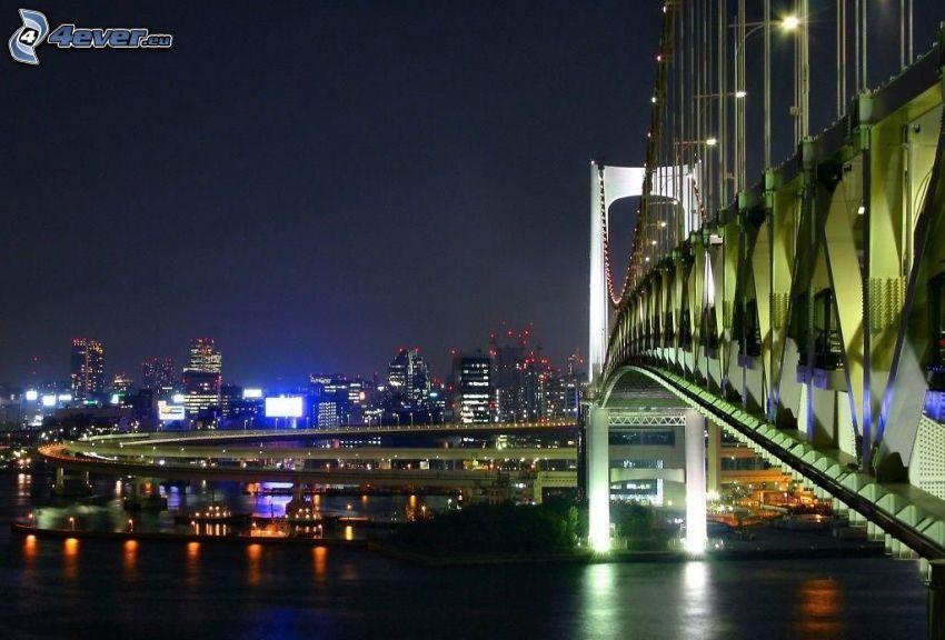 puente, Shanghái, noche, río, ciudad de noche