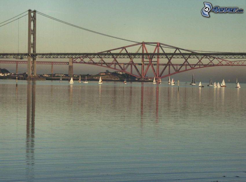puente de hierro, río, mar, agua, lago, yates