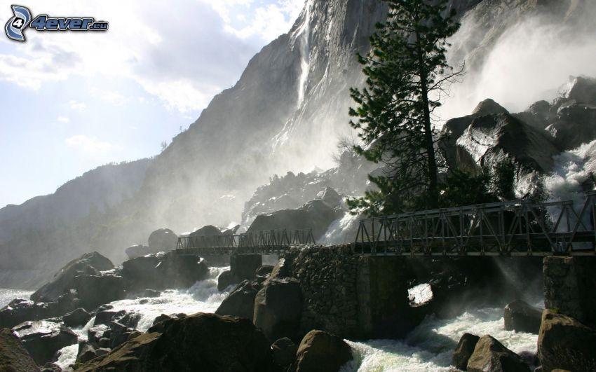 puente de hierro, rocas, río