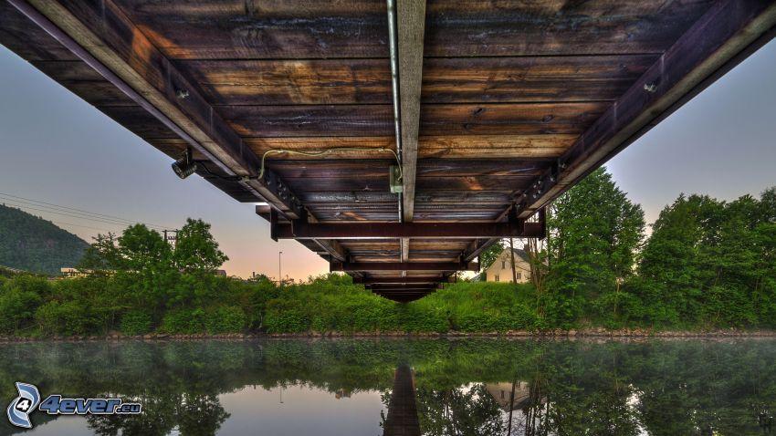 puente de madera, río, HDR