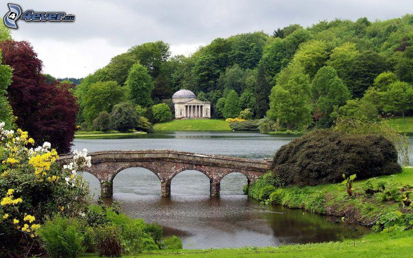 puente de piedra, parque, lago