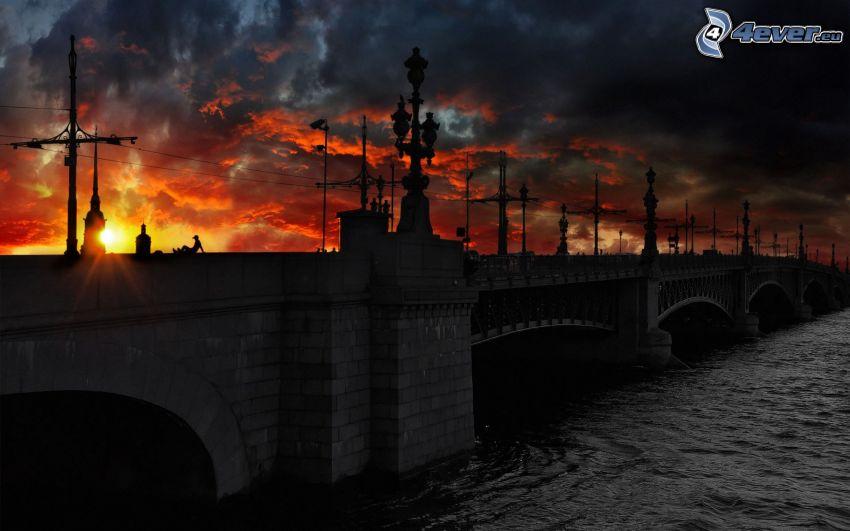 puente histórico, Petersburgo, Rusia, puesta del sol, nubes, río