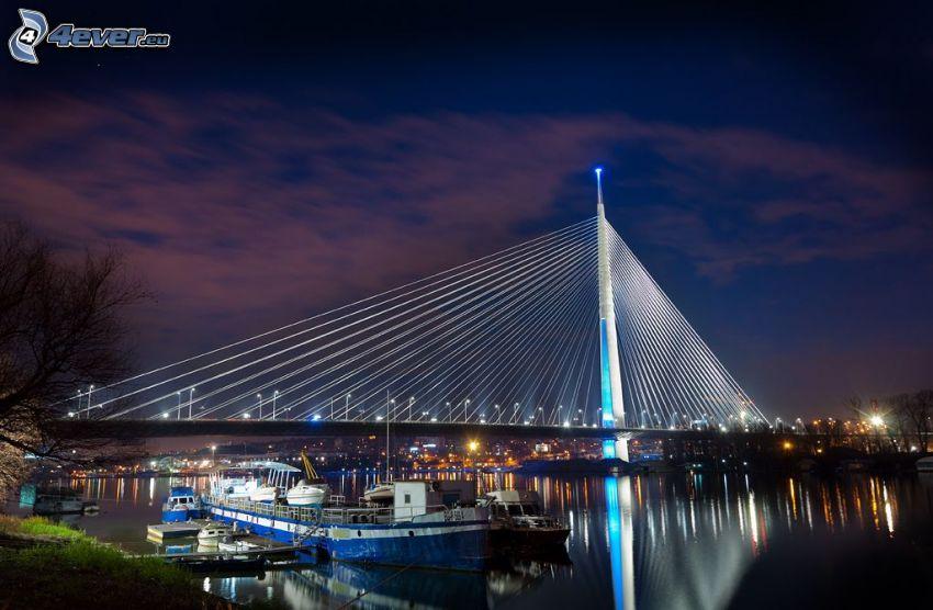 puente iluminado, noche, puerto
