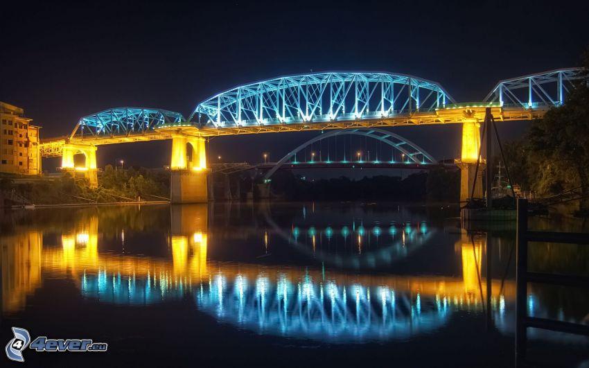 puente iluminado, reflejo, río