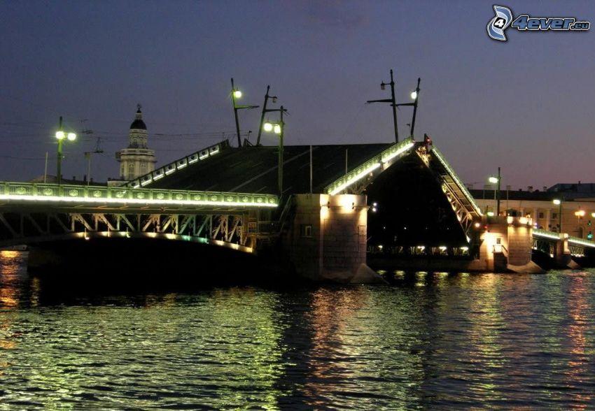 puente levadizo, atardecer, río