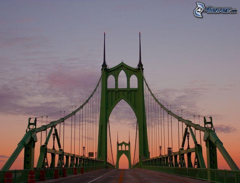 puente St. Johns, cielo anaranjado