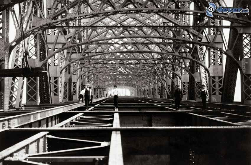 Queensboro bridge, personas, Foto en blanco y negro