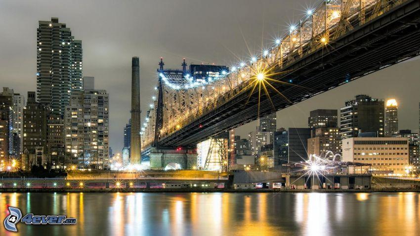 Queensboro bridge, rascacielos, Nueva York de noche