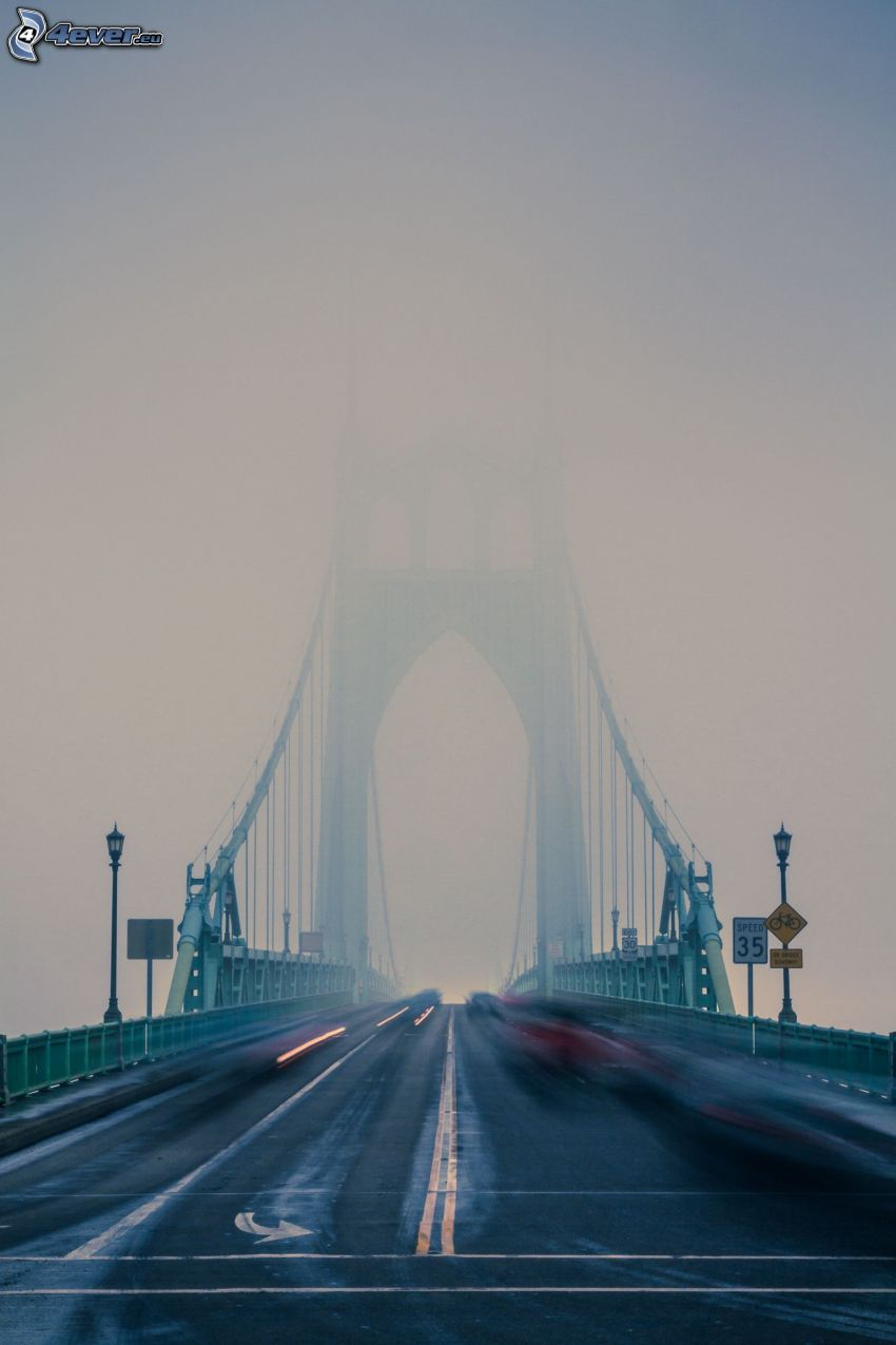 St. Johns Bridge, niebla, acelerar