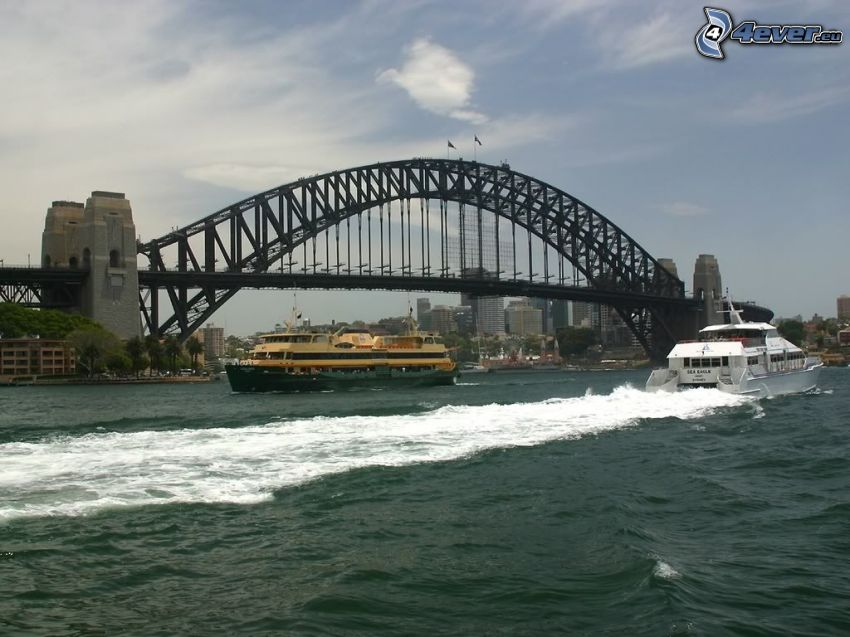 Sydney Harbour Bridge, Sydney, yate, río, naves