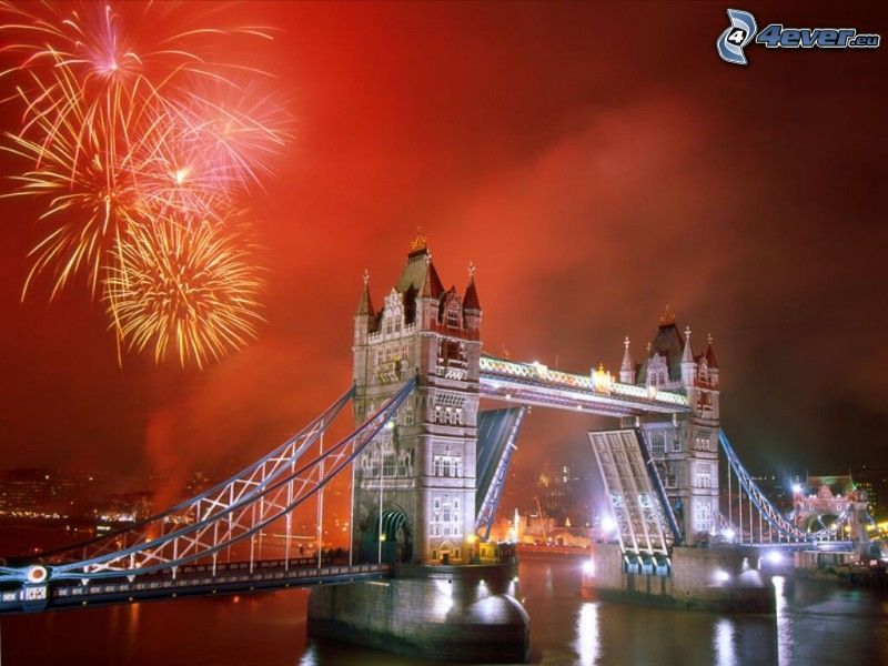 Tower Bridge, Londres, puente plegable, fuegos artificiales, Año Nuevo