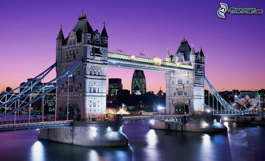 Tower Bridge, puente iluminado, noche