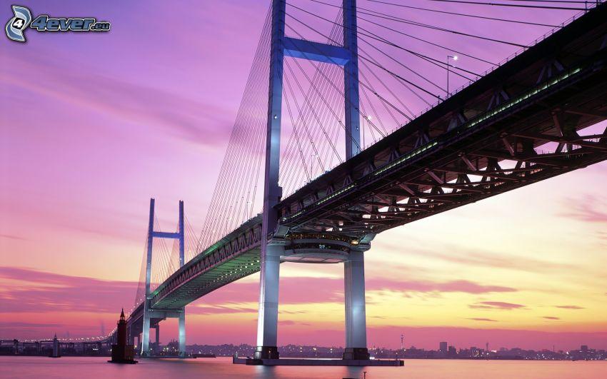 Yokohama Bay Bridge, cielo púrpura