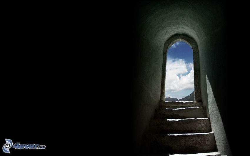 puerta, escalera, cielo