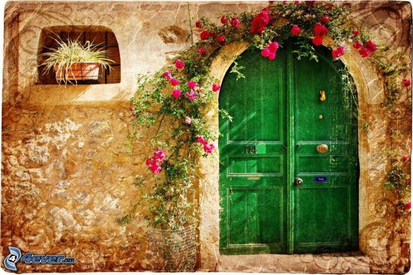 puerta, flores de color rosa