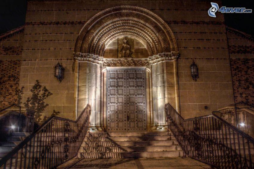 puerta, iglesia, escalera, noche, iluminación