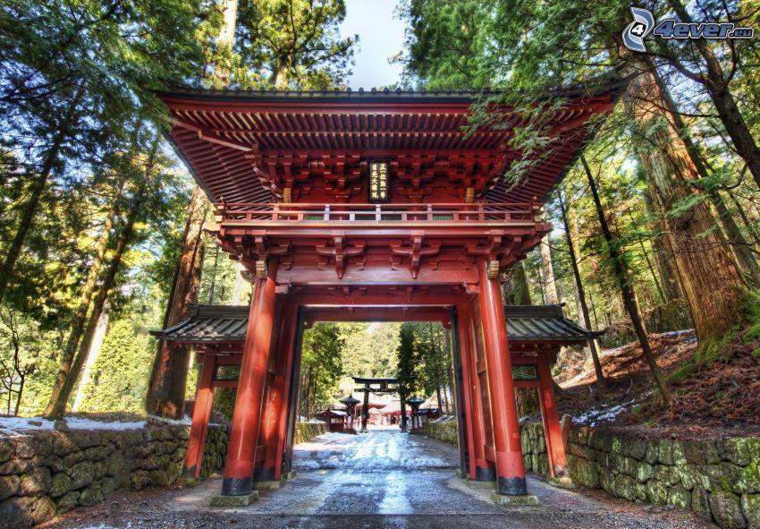 puerta, Japón, HDR, muro de piedra