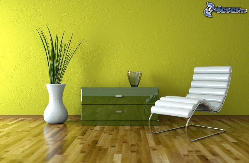 salón, silla, florero, tabla de entarimado