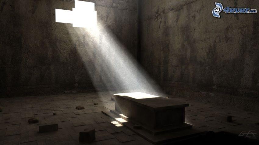sepulcro, luz, antiguo edificio