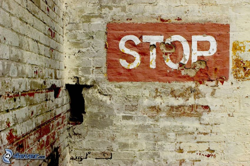 stop, pared