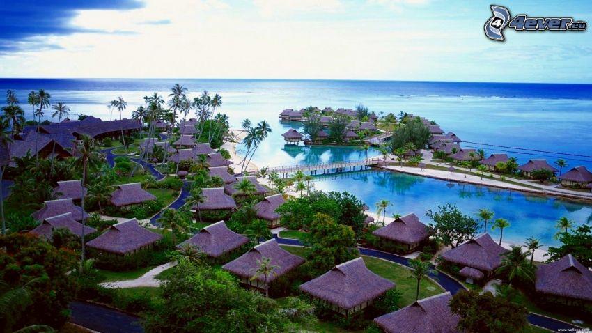Tahiti, aldeas de vacaciones al lado del mar