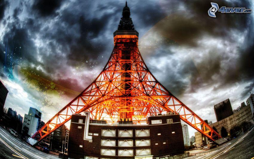 Tokyo Tower, torre, Tokio, nubes