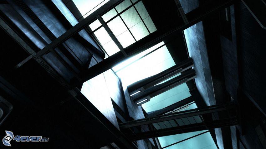 ventanas, edificio, escalera