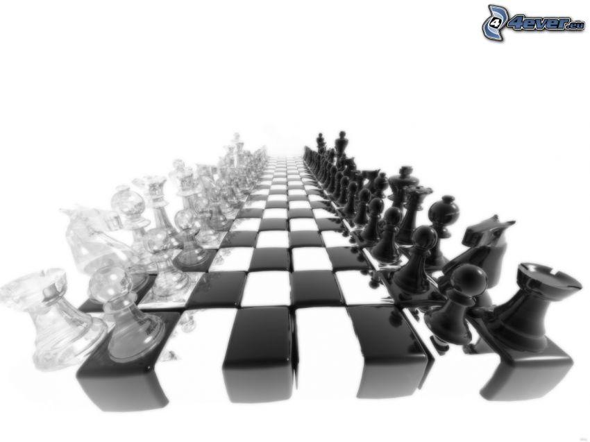 ajedrez, tablero de ajedrez, blanco y negro