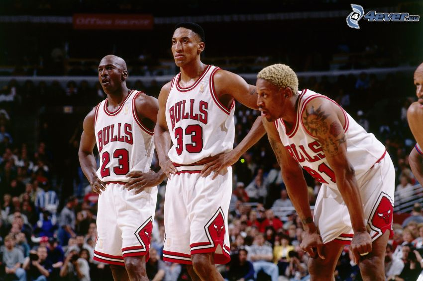 Michael Jordan, Scottie Pippen, Dennis Rodman, jugadores de baloncesto