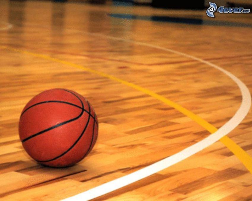pelota de baloncesto, gimnasio, suelo, líneas