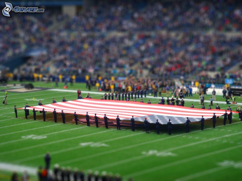 bandera americana, patio de recreo, diorama