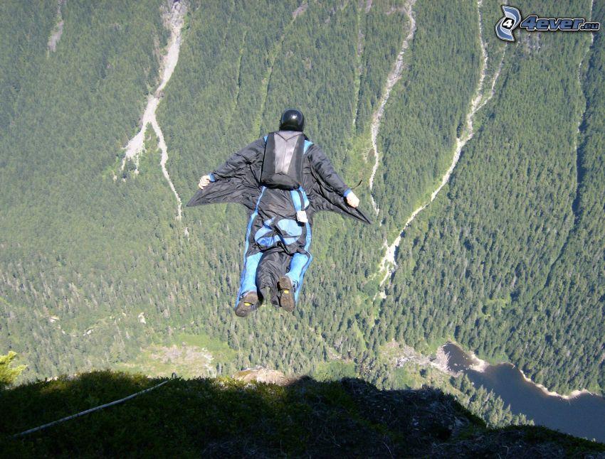 BASE Jump, bosque, montaña