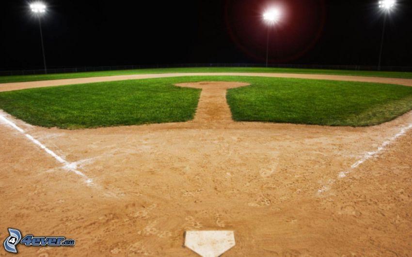 baseball, patio de recreo, lámpara de calle