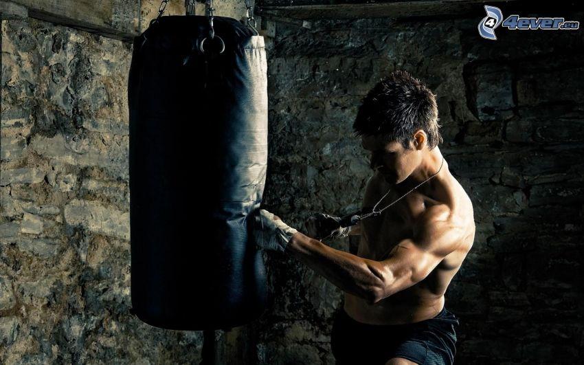 boxeo, hombre, musculatura