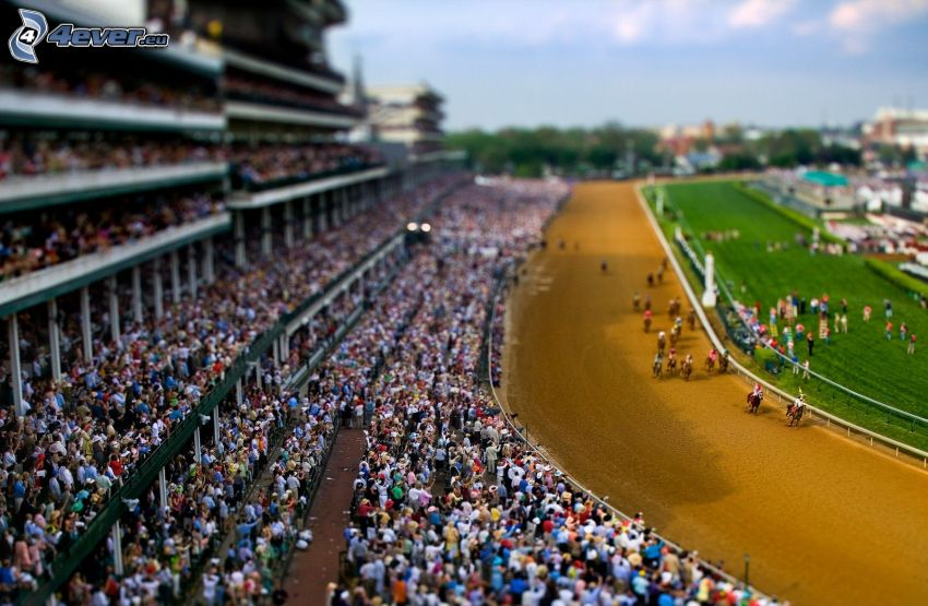 carreras de caballo, carreras, tribuna, diorama