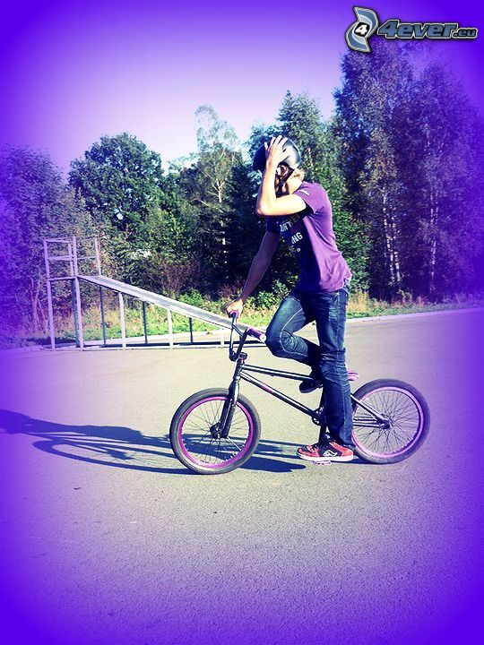 BMX, muchacho, bicicleta
