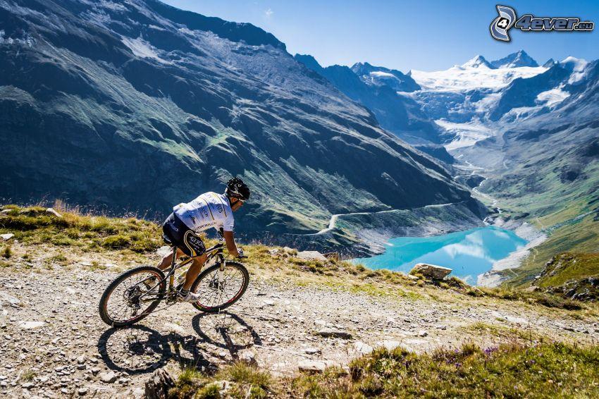 mountainbiking, montaña rocosa, lago de montaña