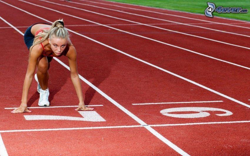 corredor, pista de jogging, rubia