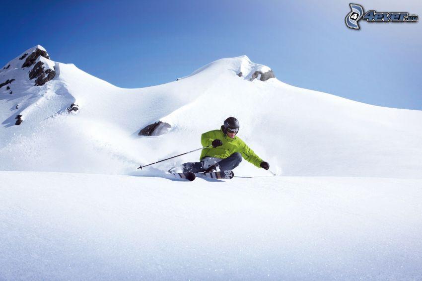 esquí, cerro nevado