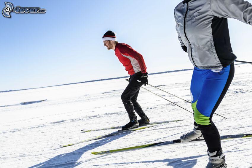 esquí, esquiadores, nieve