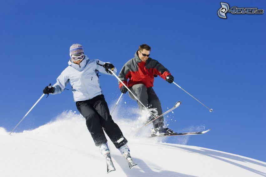 esquí, esquiadores