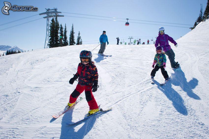 esquí, familia