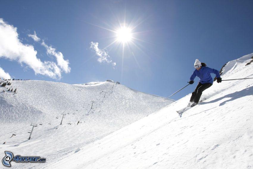 esquí, nieve, sol