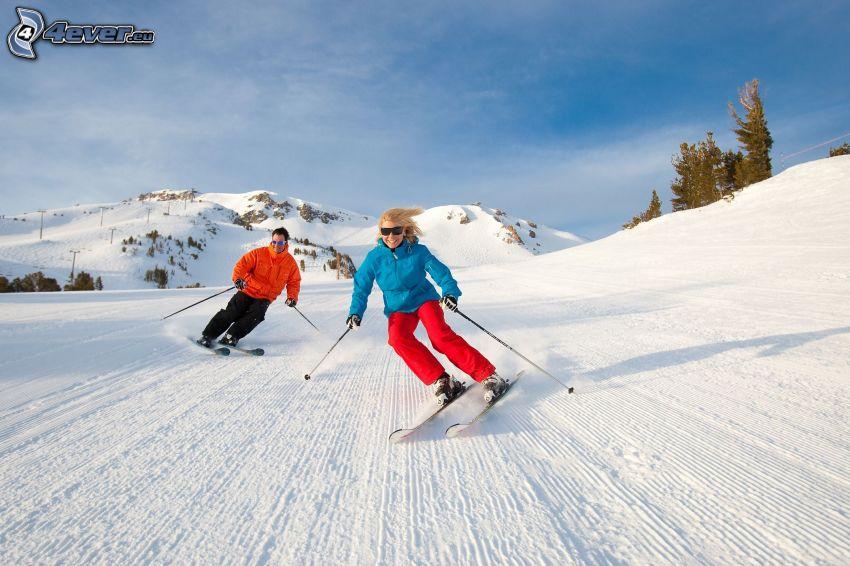 esquí, pareja
